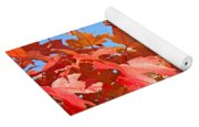 Fall Tree Leaves Red Orange Autumn Leaves Blue Sky Yoga Mat
