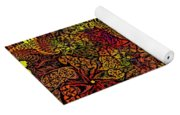 Fantasy Flowers Woodcut Yoga Mat