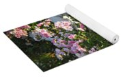 Fence With Pink Roses Yoga Mat