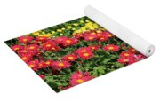 Field Of Red And Yellow Flowers Yoga Mat