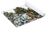 Flag And Snowy Pines Yoga Mat