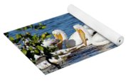 Flock Of White Pelicans Yoga Mat