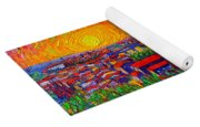 Florence Sunset 9 Modern Impressionist Abstract City Impasto Knife Oil Painting Ana Maria Edulescu Yoga Mat