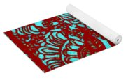 Flowers Indigo Red And Blue Yoga Mat