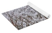 Frozen Trees During Winter Storm Yoga Mat