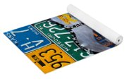 Get Your Kicks On Route 66 Recycled Vintage State License Plate Art By Design Turnpike Yoga Mat
