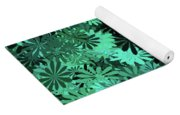 Green Floral Pattern Yoga Mat