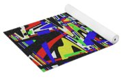Green Yellow Blue Red Black And White Abstract Yoga Mat