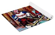 Hockey Rink Paintings New York Rangers Vs Habs Original Six Teams Hockey Winter Scene Carole Spandau Yoga Mat