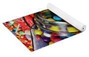 Jar Spilling Bubblegum With Candy Yoga Mat