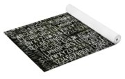 Letters And Numbers Grey On Black Yoga Mat