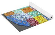 License Plate Map Of The United States Edition 2016 On Steel Background Yoga Mat