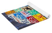 License Plate Map Of The Usa On Blue Wood Boards Yoga Mat
