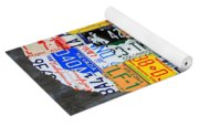 License Plate Map Of The Usa On Gray Distressed Wood Boards Yoga Mat