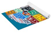 License Plate Map Of The Usa On Royal Blue Yoga Mat