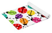Lots Of Crayon Colored Ladybugs Yoga Mat