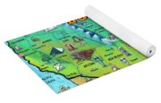 Louisiana Usa Cartoon Map Yoga Mat