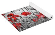 Lovely Field Of Poppies With Sun  Yoga Mat