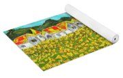 Meadow With Yellow Dandelions, Oil Painting Yoga Mat