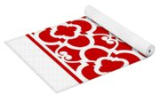 Moroccan Floral Inspired With Border In Red Yoga Mat