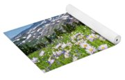 Mount Rainier And A Meadow Of Aster Yoga Mat