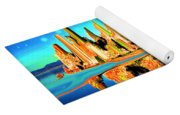 New York Skyline Blue Orange - Modern Art Yoga Mat