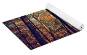 Old Tree Silhouette In Fall Woods Yoga Mat