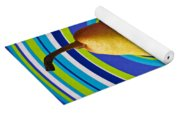 Pear On Plate With Circles Yoga Mat