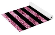 Pink And Black Glitter Sequin Stripes Yoga Mat