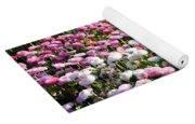 Pink Button Pom Flowers Yoga Mat