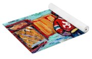 Outdoor Hockey Rink Painting  Devils Vs Rangers Sticks And Jerseys Row House In Winter C Spandau Yoga Mat