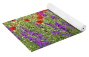 Poppy And Wild Flowers Meadow Nature Scene Yoga Mat
