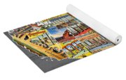 Postcards Of The United States Vintage Usa Lower 48 Map On Gray Wood Background Yoga Mat