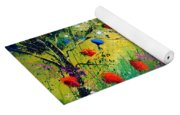 Red And Blue Poppies  Yoga Mat