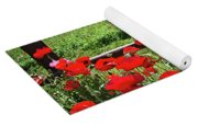 Red Corn Poppies At The Fence Yoga Mat