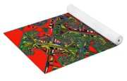 Red Five Wave Abstract Yoga Mat