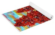 Red Maples On Green Hills With Name And Title Yoga Mat