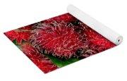 Red Rambutan And Green Leaves Yoga Mat