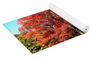 Red Trees By Lake Yoga Mat