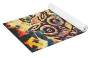 Retro Pop Art Owls Under Floating Feathers Yoga Mat