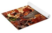 Robin Playing In Fallen Leaves Yoga Mat
