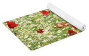 Spring Meadow With Poppy And Chamomile Flowers Yoga Mat