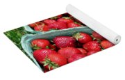 Strawberries In A Box On The Green Grass Yoga Mat