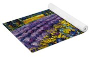 Sunflowers And Lavender Field - The Colors Of Provence Modern Impressionist Palette Knife Painting Yoga Mat