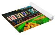 Take Me Out To The Ballgame Recycled Vintage License Plate Art Collage Yoga Mat