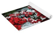 The Path To Christmas - Poinsettias, Trees, Snow, And Walkway Yoga Mat