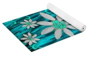 Three And Twenty Flowers On Blue Yoga Mat