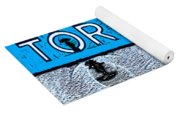 Toronto In The Rain Poster In Blue Yoga Mat