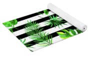 Tropical Leaves Pattern In Watercolor Style With Stripes Yoga Mat