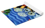 Two Bees With Red Flowers Yoga Mat